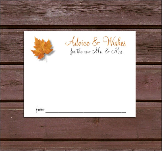 100 Fall Leaf Advice and Wishes.  Wedding Favors - Fall In Love