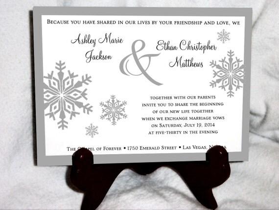 100 Snowflake Wedding Invitations, RSVP's, Reception Insert Invitations with FREE Calendar Stickers