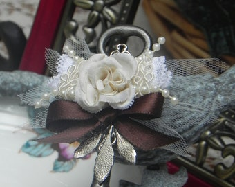 Ivory Rose Skeleton Key Boutonniere ~ Made To Order