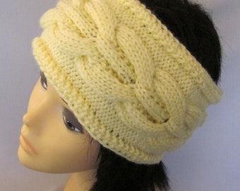 Hand Knitted Yellow Head Band with Beautiful Ornament