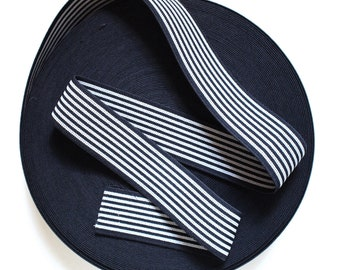 "2"" Reversible Black & White Stripes Stretch Elastic Band"