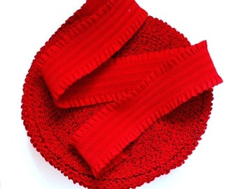 """3""""inches (7cm) Chilli Red with Frills Stretch Elastic Band. (1 Yard)"""