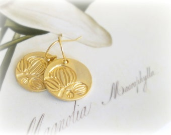 Magnolia earrings - Simple minimalist golden hook earrings -16K goldplated brass engraved flower Coins gift for her