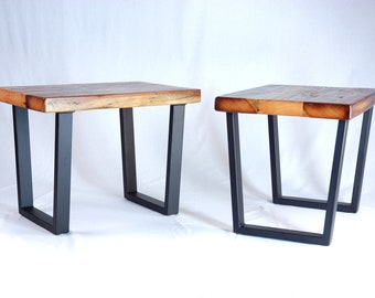 Industrial Reclaimed Timber End Table Set