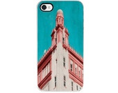 Building iPhone 4 and 4s Case, Decorative Cover, Aqua, Turquoise, Blue, Sky, Red, White, Photography, Art