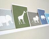 Giraffe Art Print / Safari Wild Animal Set / Choose your Colors and Background / 8x10 / Wall Art Poster