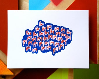 screen print // ALL THIS CHATTER // hand-pulled 5 x 7 illustrated typography print