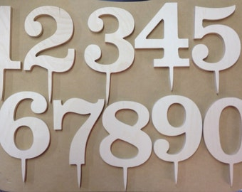 4 Inch Classic Wooden Number Cake Topper - 1/4 Inch