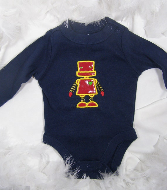 Robot 3Piece Baby/Shower Gift Set : Onesie, Burpee, and Bib for Baby Boys by FairyTale Frocks