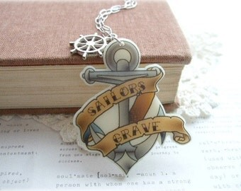 ON SALE  Sailors Grave Anchor Necklace