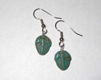 Gorgeous Geekery Trilobite Earrings in Teal - Dinosaur, Paleo, Science, Geology, Turquoise, Blue, Green