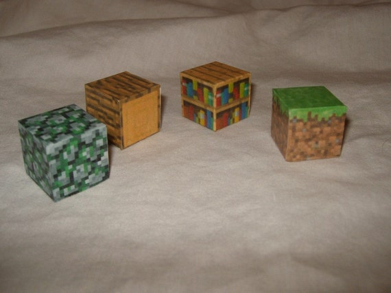 Minecraft pixel blocks 8bit 16bit videogame decoration Got wood quartet weird dice wood cubes papercraft