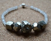 Glass Bead Bracelet, Recycled African Glass Beads and Iron Pyrite, Milky White,  Magnetic Clasp