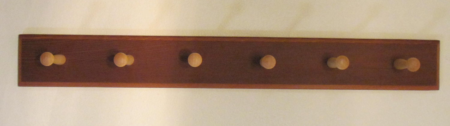 Mahgogany Coat Rack Wall Mounted Coat Hook Shaker Peg Rail