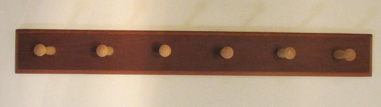Mahgogany coat rack wall mounted coat hook shaker peg rail for Wall pegs and racks