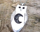 Owl pendant necklace made from recycled silver with natural peridot gemstone, handmade, one of a kind