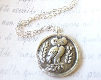 Reclaimed silver owl wax seal necklace pendant jewelry Greek design created with recycled fine silver