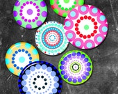 Pop Art  backgrounds  bright  colorful circles 1in and 2 in   -  Digital Collage Sheet, Download for Resin Pendant, Round Circle (J10)