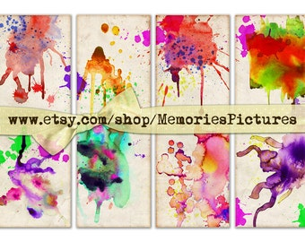 Paint splash on vintage  color paper  -  8 Gift tags,  ACEO cards, Printable Digital Collage Sheet to  instant Download and Print 150