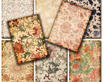 Damask Shabby chic  Vintage papers -  3.5 x 2.5   Gift tags,  ACEO cards, Printable Digital Collage Sheet to Download and Print 157