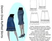 Hotpatterns Denim Diva Ruffled Hem Skirts PATTERN sizes 6-14