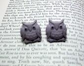 Gray Owl Button Earrings, Button Jewelry, Owl Earrings, Bird Jewelry