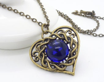 Bright blue necklace, antique bronze, cobalt blue heart necklace, victorian necklace, vintage style beaded jewelry