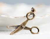 Craft Scissors Necklace Earth Brown Antiqued Brass Scissors Charm for Crafter Seamstress Hairstylist - N241