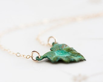Summer Green Leaf Necklace Gold Filled Chain Patina Leaf Verdigris Charm Nature Rustic Shabby Jewelry - N253
