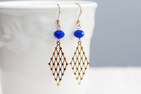 Blue Beads Rhombus Earrings Geometric Earrings Gold Filigree Diamond Charms Violet Blue Faceted Beads - E204
