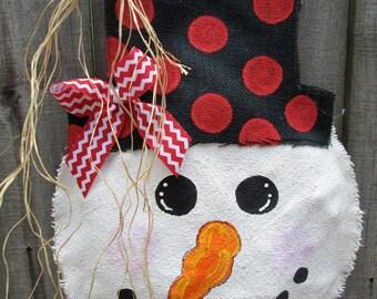 Snowman Burlap Door Hanger Door Decoration With Hat