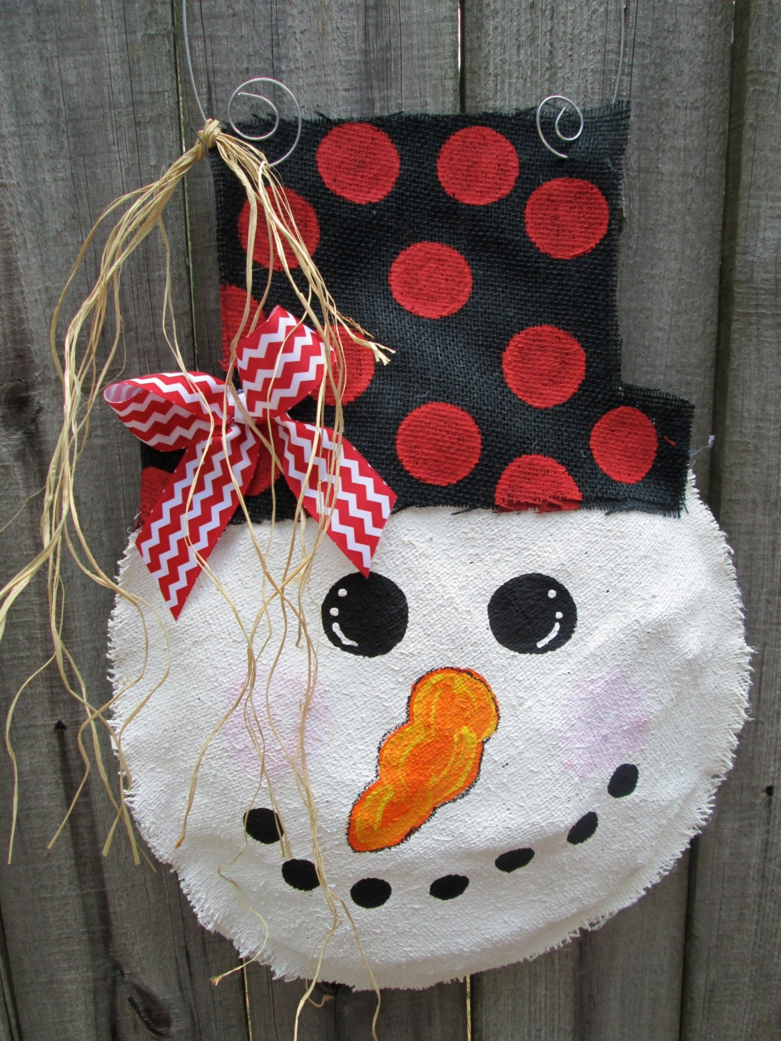 Snowman Burlap Door Hanger Door Decoration With By