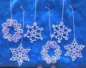 Hand Shuttled Tatted Set of Six Christmas Snowflakes