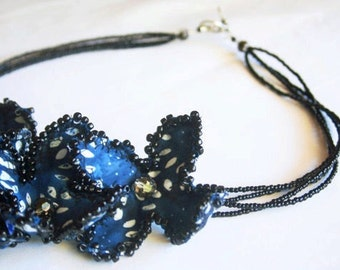 Statement Necklace One of a Kind Elegant Dark Blue Fiber Art Beaded Necklace, Batik Midnight Fabric Flowers, Unique Jewelry, Boho Necklace
