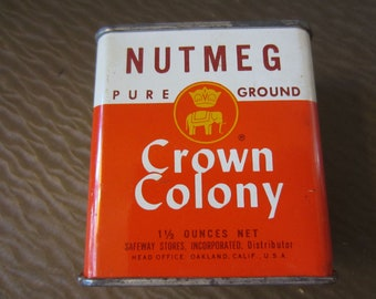 Vintage 1960s Crown Colony Nutmeg Spice Can Metal Tin Pure Ground 1 1/2 oz Safeway Stores Advertising Head Office Oakland Elephant