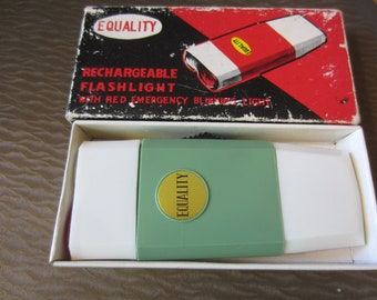Vintage 1960s Japan EQUALITY Plastics Inc NY Rechargeable Flashlight in Box mid century design Mint color Emergency blinking