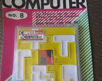 Vintage 1969 BEAT The COMPUTER No.8 Computer Pla-Puzzle Made in Japan Yamada MIP Game Kitschy fun