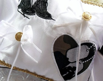 Military Wedding  Embroidered Ring Bearer Pillow