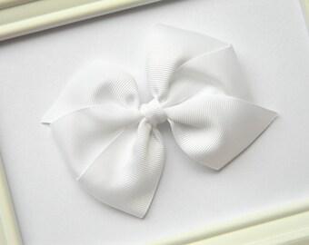White Pinwheel Hair Bow