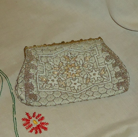 Pretty Beaded Vintage Handbag, Floral, Pearl Beaded Frame