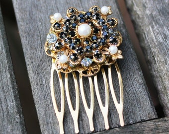 Vintage Black Rhinestone and Pearl Hair Comb