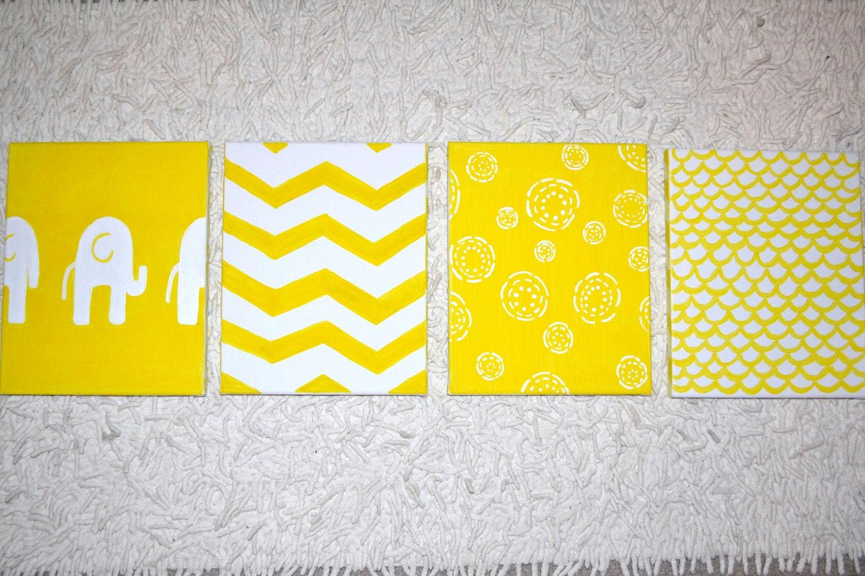 Yellow Gray Baby Nursery Canvas Wall Art Chevron Sweet Jojo