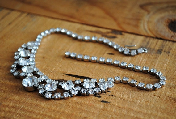 Vintage Necklace - Rhinestone Bauble Necklace Costume Jewelry Audrey Hepburn Crystal Bridal Statement Breakfast at Tiffany's