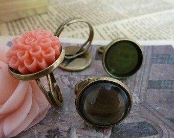 5pcs Antique Bronze Brass ring setting/fingding with 16 mm  cab setting TA