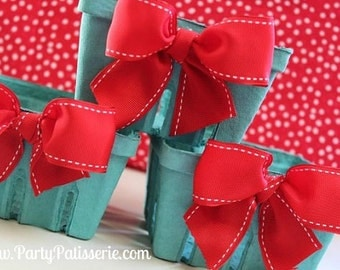 Red Bow Berry Baskets - Set of 6