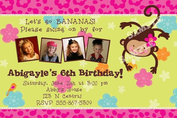 Monkey love party invitations - photo#23