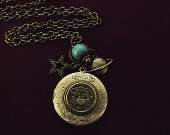 Bronze Locket Necklace,  Zodiac Symbol Cancer With Turquoise Bead And Charms  Womens Gift   Handmade
