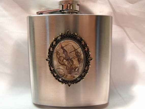 Flask,  Steampunk Octopus Or Giant Squid Attacking Sailing Ship Glass Pendant 6 ounce Mens Womens Gift  Handmade