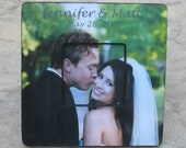 """Unique Wedding Gift, Personalized Wedding Picture Frame, Unique Wedding Photo Gift, Unique Parent's Gift, Unique Engagement Gift, 8"""" x 8"""""""