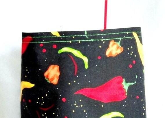 Plastic Bag Holder, SALE, Bag Sock, Jalapeno Peppers Plastic Bag Holder, kitchen organizer